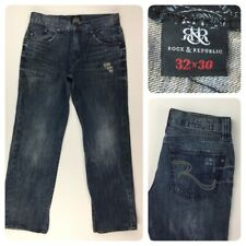 Rock & Republic Men's Distressed Straight Leg Jeans W32 L29
