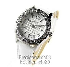NEW GUESS WOMENS WATCH SWAROVSKI CRYSTALS LEATHER STRAP - PRISM DRESS COLLECTION