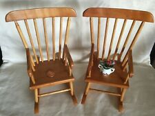 2 Vintage 1:6 Miniature Barbie Doll House Teddy Wood Rocking Chairs LOT + Flower