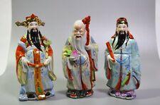 Chinese God Figurines Fu Lu Shou Fuk Luk Sau Hand Painted Porcelain Lot of 3 Vtg