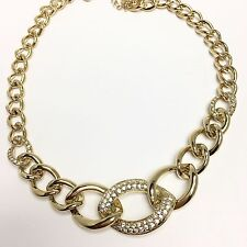 Melania Trump Jewelry Fashion Gold tone Necklace Curb link with stones