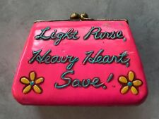 """VINTAGE COIN PLASTER HOT PINK PURSE BANK: """"LIGHT PURSE, HEAVY HEART, SAVE!"""""""