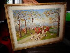 Scène de Chasse à Courre Peinture Déco Cabane de Chasseur Hounds Hunting 1963