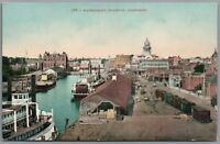 Postcard Stockton CA Waterfront Dock paddlewheel boats steamer train Mitchell