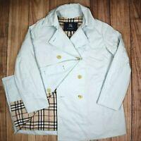 Womens Burberry Coat Blue Nova Check Mac Trench Coat 90s Vintage Size 15