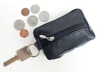 Black Genuine Leather Mens Coin Purse  Change Holder Front Pocket Key Ring