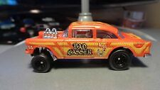 Custom Hot Wheels 55 Chevy Gasser with Black 8 Spoke Rims and Real Rider Tires