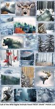 Call of the Wild Digital Panel cotton quilt fabric Hoffman 24x44 Animals