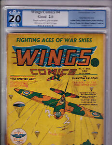 Wings Comics 4 PGX Graded 2.0 1940 Strafing RAF Spitfires Cover
