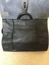 Vtg Kenneth Cole New York Black Leather Shoulder Lap Top Bag Briefcase Messenger