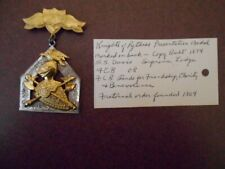 "ANTIQUE VINTAGE ""KNIGHTS OF PYTHIAS PRESENTATION LODGE MEDAL W/ PROVENANCE"
