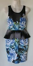 RED BERRY BLUE, BLACK & WHITE PEPLUM DRESS - SIZE 8 APPROX - BNWT $49