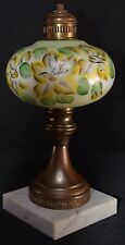 Hand Painted Electric Table Lamp Marble Base Vintage For Restoring