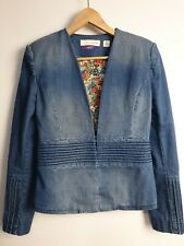 Sass And Bide The Testimony denim Jacket with Vintage Liberty Art Fabric Size 8