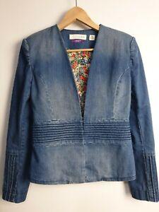 Sass And Bide The Testimony denim Jacket with Vintage Liberty Art Fabric Size 8
