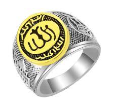Mens Gold Silver Islamic Allah Ring Arabic Muslim Kaba Religious Gift Jewellery