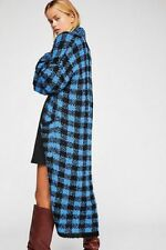 Free People NWT Size XS GORGOUS Checkered Cardi Sweater NEW Blue Black Duster