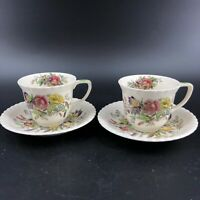 Set of 2 Windsor Ware Johnson Bros Garden Bouquet Demitasse Cup & Saucer Set