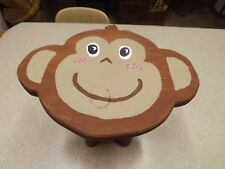 "Hand Crafted Monkey Face Wood Step Stool Hand Painted 9"" x 11.5"""