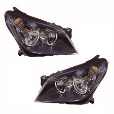 For Vauxhall Astra H Mk5 Van 5/2004-6/2007 Headlights Lamps Black Pair OS NS