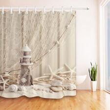 "Nautical Starfish Stone Fabric Shower Curtain Waterproof Bathroom Set Decor 72"""