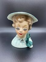 "Vintage 5-1/2""Ucago Japan Lady Head Vase Mint Green Dress & Hat Dark Green Glove"