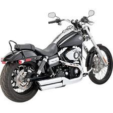"Vance Hines Chrome 3"" Round Twin Slash Slip-On Mufflers 08-17 Harley FXDF FXDWG"