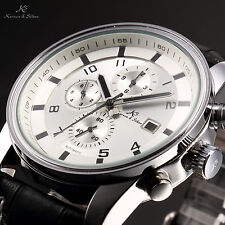 Kronen & Söhne Men's Day & Date & Month Display Leather Band Sport Wrist Watch