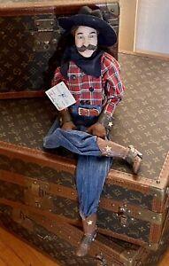 """Vintage Daddy Long Legs Cowboy Doll """"Cowboy Buck"""" 26"""" #DL06"""
