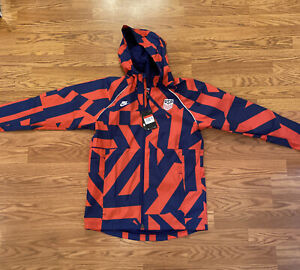 Nike U.S. Awf Graphic Soccer Jacket In Speed Red,loyal Blue, Size L (CZ4332 688)