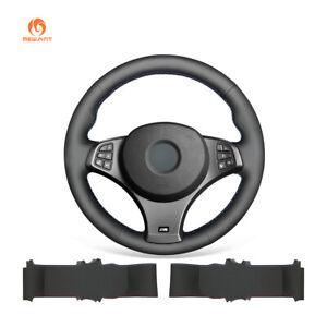 DIY Black Leather Car Steering Wheel Cover for BMW E83 X3 M Sport