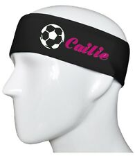 Soccer Ball Personalized Black/Pink Cotton Stretch Sports Yoga Marathon Headband