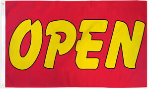 Open Flag 3x5ft Open Red/Yellow We're Open Welcome Open Flag Sign