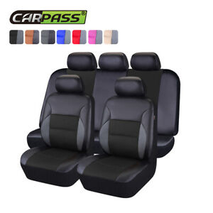 Universal Car Seat covers PU Leather Black For Honda Mazda Holden Toyota 11 pcs