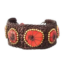 Handmade Sliced Coral Brass Around Organic Bracelet