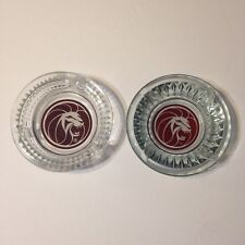 Mgm Lion Hotel Casino Las Vegas Round Clear Glass Ashtray Qty 2 Different Styles