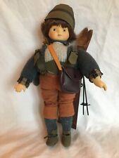 Vintage Porcelain Alpine Swiss German Boy Skier Doll Wood Ski Wool Sweater Glove