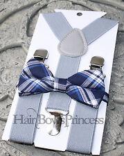Kids Boys children gray Suspenders royal navy blue  Bow tie SET,wedding,6mo-5 y