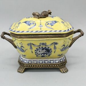 Yellow & Blue Porcelain with Brass Handle & Feet Vintage Tureen