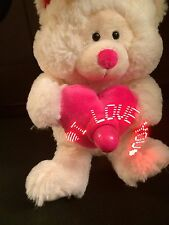 Sounds Lights White Teddy Bear Stuffed Animal Valentines Day Revolving Message
