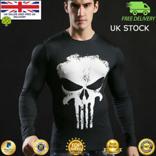 Mens long sleeve compression top gym superhero avengers marvel muscle Punisher