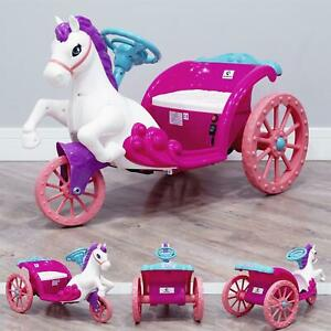 RiiRoo Princess 6V Unicorn Style Horse & Carriage Ride-on Toy Battery Operated