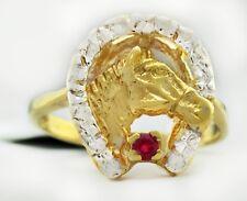 RUBY HORSE SHOE RING 14k YELLOW GOLD ** FREE  SHIPPING **