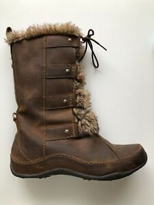 The North Face Brown Leather Boots 7 Faux Fur Primaloft  Insulated Lining