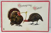 Thanksgiving Wishes Turkey 1910s Vintage Antique Postcard