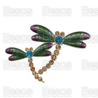 DRAGONFLY BROOCH austrian crystal GREEN PURPLE enamel RHINESTONE PIN gift box