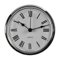 Uhrwerk Quartz Einbau-Uhr Ziffern römisch Lünette silber Ø 103 mm Batterie inkl.