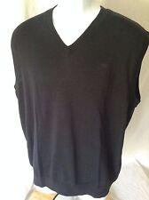 Mens Ashworth Black Cotton V-Neck Sleeveless Pullover Golf Sweater Vest~M