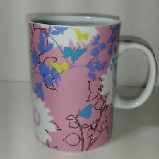 Starbucks Coffee Cup Mug Pink White Multi Color Floral Butterfly 15 OZ 2006