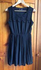 TSEGA Black Dress Size S/M 8-10 Pleated Lace Chiffon Short Summer Tea Dress Sun